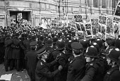 Police containing Anti Nazi League protest against the National Front, Whitehall, London, 1978, where NF were commemorating the fallen at the Cenotaph - Martin Mayer - 12-11-1978