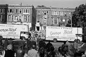 The day the Elgin Avenue squat ended, West London, 1975 with removal vans parked outside - Martin Mayer - 15-10-1975