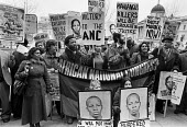 Anti-Apartheid protest for Solomon Mahlangu 1979, two days before the ANC militant was hanged in South Africa, accused of murder. South Africa House, London - Martin Mayer - 04-04-1979
