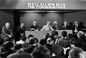 Conservative Party manifesto launch 1979. General election campaign press conference London. Margaret Thatcher speaking. Jim Prior, Francis Pym, William Whitelaw, Margaret Thatcher, Lord Thorneycroft,... - Martin Mayer - 11-04-1979
