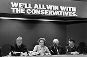 Conservative Party manifesto launch 1979. General election campaign press conference London. Margaret Thatcher speaking. William Whitelaw, Margaret Thatcher, Lord Thorneycroft, Keith Joseph - Martin Mayer - 11-04-1979
