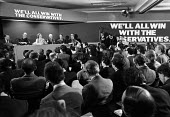 Conservative Party manifesto launch 1979. General election campaign press conference London. Margaret Thatcher speaking. Francis Pym, William Whitelaw, Margaret Thatcher, Lord Thorneycroft, Keith Jose... - Martin Mayer - 11-04-1979