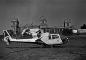 Sotheby's auction sale, Mentmore Towers 1977. Helicopter parked at the sale of the contents of the stately home belonging to the 7th Earl of Rosebery, Buckinghamshire. Mentmore was sold to the Maharis... - Martin Mayer - 18-05-1977