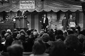 Sotheby's auction sale, Mentmore Towers 1977. Buyers and Auctioneer Peter Wilson, sale of the contents of the stately home belonging to the 7th Earl of Rosebery, Buckinghamshire. Mentmore was sold to... - Martin Mayer - 18-05-1977