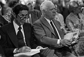 Sotheby's auction sale, Mentmore Towers 1977. Two men following the proceedings intently at the sale of the contents of the stately home belonging to the 7th Earl of Rosebery, Buckinghamshire. Mentmor... - Martin Mayer - 18-05-1977