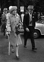 Royal Ascot races 1975 men in top hats and morning dress and women in hats arriving at Ascot racecourse, Berkshire - Martin Mayer - 16-06-1975