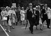 Royal Ascot races 1972. men in top hats, morning dress and women in hats arriving at Ascot racecourse, Berkshire - Martin Mayer - 16-06-1972