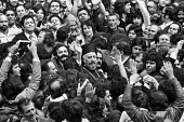 Greek Cypriot Archbishop Makarios 1974 surrounded by supporters whilst visiting London having attended a church service in Camden Town. First president of Cyprus, he campaigned for union with Greece - Martin Mayer - 11-08-1974