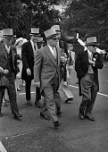Royal Ascot races 1975 men in top hats, sunglasses and morning dress arriving at Ascot racecourse, Berkshire - Martin Mayer - 16-06-1975