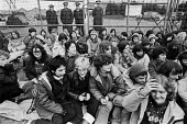 Women blockading RAF Greenham Common 1982, USAF airbase, Newbury, Berkshire. Women protesting at the presence of US cruise missiles with nuclear warheads - NLA - 29-03-1983