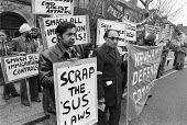 Asians protest against the Sus laws, 1979 Stop and Search powers of the police, Newham, East London. Newham Defence Committee - NLA - 21-04-1979