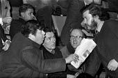 National Front disrupting a rally on arms exports 1971 to South Africa, London, NF leader Martin Webster (L) lunging at the platform - NLA - 19-01-1971