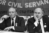 Neil Kinnock and Norman Willis 1985 GCHQ Trades Unions Rally, Cheltenham after the banning of unions at the intellegince establishments. - NLA - 26-01-1985