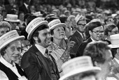 Election Victory straw boaters 1979 Conservative Party Conference Blackpool, audiance listening to speech by Margaret Thatcher - NLA - 11-10-1979