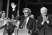 Geoffrey Howe waving to applause 1979 Conservative Party Conference, Blackpool, Margaret Thatcher (L) and Lord Thorneycroft (R) - NLA - 12-10-1979