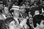 Conservative Trade Unionists straw boater 1980 Conservative Party Conference Brighton, audiance listening to speech - NLA - 08-10-1980