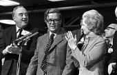 Willie Whitelaw, Geoffrey Howe, Margaret Thatcher 1976 Conservative Party Conference, Brighton, standing ovation at the end of his speech - NLA - 05-10-1976