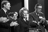 Cecil Parkinson, Margaret Thatcher, Edward Du Cann, 1981 Conservative Party Conference, Blackpool, standing ovation - NLA - 16-10-1981