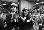 Standing ovation for Margaret Thatcher 1980 Conservative Party Conference, Brighton. Young supporters in straw boaters We Back Maggie - NLA - 10-10-1980