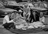 Henley Royal Regatta 1979 enjoying champagne lunch, wealthy picnicking in the car park, Henley on Thames - NLA - 08-09-1979