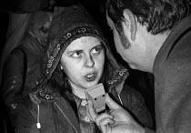 Bernadette Devlin speaking to a reporter, 1972 Anti Internment League protest, London - Peter Arkell - 12-11-1972