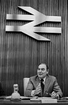 Sir Peter Parker, Chairman of British Rail, London, 1978 with the British Rail logo - Peter Arkell - 05-05-1978
