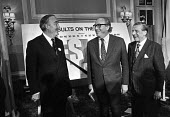 Willie Whitelaw, Roy Jenkins, Vic Feather celebrating 1975 referendum result for remaining in EEC and Common Market, London - Peter Arkell - 06-06-1975