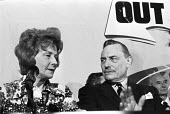 Barbara Castle, Enoch Powell, 1975 Leave the Common Market and EEC Press conference, London, referendum campaign - Peter Arkell - 04-06-1975