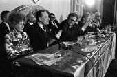 Barbara Castle, Enoch Powell, Michael Foot, Leave the Common Market and EEC Press conference, London 1975 referendum campaign - Peter Arkell - 04-06-1975