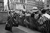 Winter of Discontent, 1979. Rubbish piling up, Leicester Square, Central London, an official collection centre, during the refuse collectors strike. - Peter Arkell - 09-02-1979