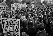Coventry 1979, Anti Apartheid protest Barbarians Rugby team, South African players protected by police pass through Anti Apartheid protest against the rugby football Tour, Coundon Road Stadium. Stop R... - Peter Arkell - 17-10-1979