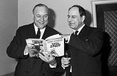 Alf Robens, NCB, launch of his book Ten Year Stint, London 1972 his successor Derek Ezra at his side. His reputation was tarnished by his failure to have foreseen and prevented the Aberfan disaster, f... - Peter Arkell - 16-03-1972