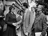 Ken Livingstone shaking hands with Mrs McElwee 1981 the mother of hunger striker Thomas McElwee, who died 2 weeks later. Ernie Roberts Labour Party MP (R) London - Peter Arkell - 21-07-1981