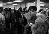 Dollar comes off The Gold Standard London 1971 Americans queuing at American Express to exchange their dollars the day after President Richard Nixon announced the end of dollar convertibility to gold.... - Peter Arkell - 16-08-1971