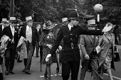 Royal Ascot races 1972 men in top hats, morning dress and women in hats arriving at Ascot racecourse, Berkshire - Peter Arkell - 20-06-1972