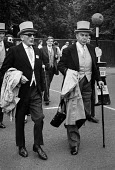 Royal Ascot races 1972 men in top hats, morning dress arriving at Ascot racecourse, Berkshire - Peter Arkell - 20-06-1972