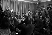 Harold Wilson, Ron Hayward and Jim Callaghan, 1974 general election campaign Labour Party press conference, London - Peter Arkell - 11-02-1974