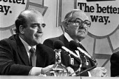 Jim Callaghan (R), Harold Walker, Labour Party General Election campaign press conference, London 1979 The Better Way - Peter Arkell - 19-04-1979