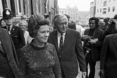 Harold Wilson and wife Mary leaving church, Labour Party Conference, 1971, Brighton - Peter Arkell - 03-10-1971