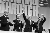 Conservative Party Conference, Brighton, 1984. The day after the IRA bombing of the Grand Hotel, Willie Whitelaw, John Selwyn Gummer, Margaret Thatcher and Dennis waving to applause. - Peter Arkell - 12-10-1984
