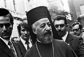 Greek Cypriot Archbishop Makarios 1974, visiting London. First president of Cyprus, he campaigned for union with Greece - Peter Arkell - 15-08-1974