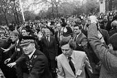 Chaos at the G7 economic summit London 1977 as the world leaders set off on an unsheduled walk about in St James Park. President Jimmy Carter is pictured with lots of security men, and press. - Peter Arkell - 07-05-1977