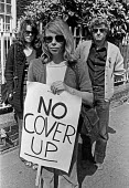 Blair Peach death inquest London 1980. Celia Stubbs partner of Blair Peach outside the inquest into his death, London 1980. Peach was killed by SPG police at an anti racist protest in Southall, West L... - Ray Rising - 29-04-1980