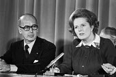 Valery Giscard D'Estaing, Margaret Thatcher 1979 press conference, London. President of France in talks on reducing Britains contributions to the EEC. - Ray Rising - 10-11-1979