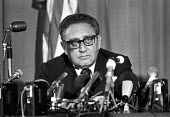 Henry Kissinger, US Embassy, London 1976. USA secretary of State speaking at a press conference at the end of his one day visit to London - Ray Rising - 30-09-1976