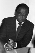 Reverend Ndabaningi Sithole, press conference, London 1977 one of the founders of Zimbabwe African National Union (ZANU) - Ray Rising - 14-04-1977