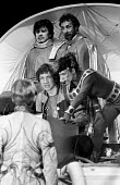 The Hitchhiker's Guide To The Galaxy by Douglas Adams 1979 ICA Theatre London. The first ever staged production of directed by Ken Campbell. Mitch Davies and Stephen Williams as Zaphod Beeblebrox, Rog... - Nick Oakes - 03-05-1979