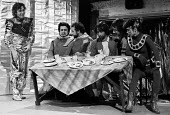 The Hitchhiker's Guide To The Galaxy by Douglas Adams 1979 ICA Theatre London. The first ever staged production of directed by Ken Campbell. L to R Neil Cunningham as Slartibartfast, Mitch Davies and... - Nick Oakes - 03-05-1979