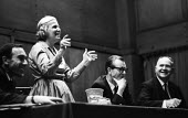 Dorothy Crowfoot Hodgkin speaking, Conway Hall, London 1967 meeting on the Abuse of Science in the Vietnam War - Patrick Eagar - 28-06-1967