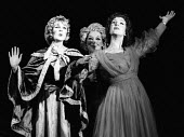 The Hero Rises Up by John Arden and Margaretta D'Arcy Roundhouse Theatre London 1968. Anne MItchell as Lady Nelson (L), Bettina Jonic as Emma - Patrick Eagar - 03-11-1968